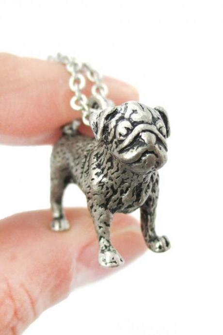 3D Detailed Pug Shaped Figurine Dog Lover Animal Charm Necklace in Silver for Women