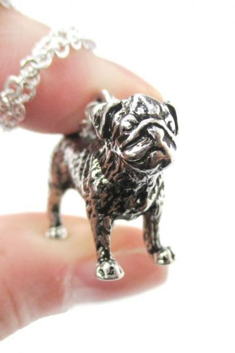 3D Detailed Pug Shaped Figurine Dog Lover Animal Charm Necklace in Shiny Silver for Women