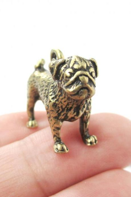 3D Detailed Pug Shaped Figurine Dog Lover Animal Charm Necklace in Brass for Women
