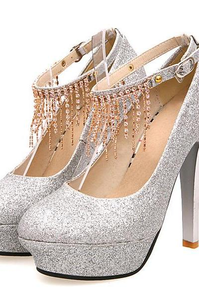 Stiletto High Heels Silver PU Party Ankle Strap Pumps
