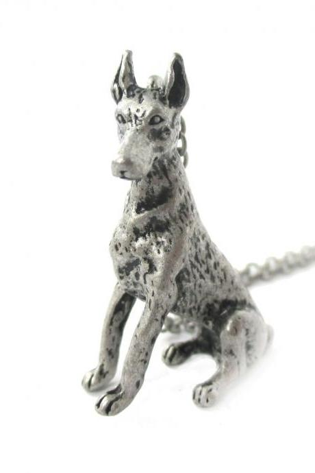 3D Detailed Doberman Pinscher Shaped Dog Lover Animal Charm Necklace in Silver for Women