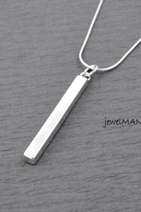 Bar necklace, rectangle, Slim Long Silver Bar Necklace, Rectangular Prism by jewelmango