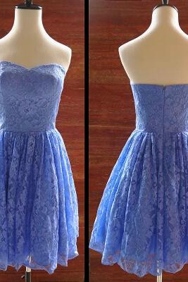 Elegant Lace Knee Length Homecoming Dress, Lace Party Dresses, Lace Prom Dressses