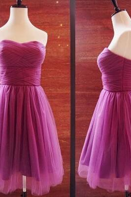 High Quality Tulle Knee Length Party Dress, Bridesmaid Dresses, Formal Dresses, Homecoming Dresses