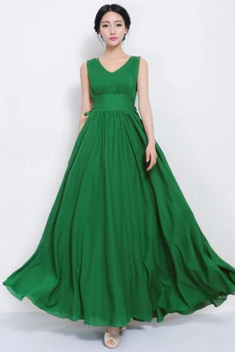 Beautiful Designer Green Chiffon Maxi Dress