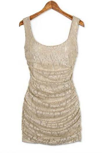 Sexy Round Neck Sleeveless Lace Sheath Dress