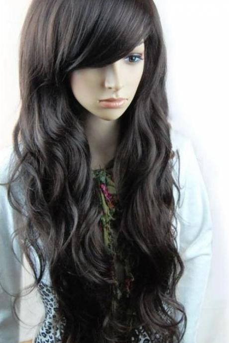 Free Shipping Fashion Synthetic Hair Wigs Long Curly Big Wave Black, Dark Brown and Light Brown Color Wigs