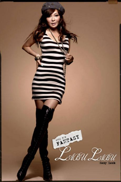Nightclub sexy backless leopard print stripe dress