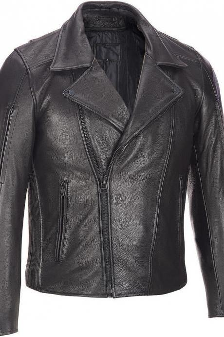 MEN MOTORCYCLE LEATHER JACKET, MEN BLACK LEATHER JACKET