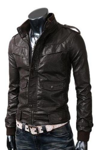 Handmade Men Slim Brown Leather Jacket with Chest Panel and Flap Double Pocket, Mens biker leather jacket