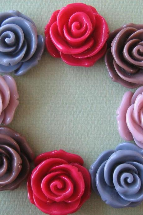 8PCS - Rose Flower Cabochons - 24mm - Resin - Crimson, Gray, Sienna and Rosy Brown - Cabochons by ZARDENIA