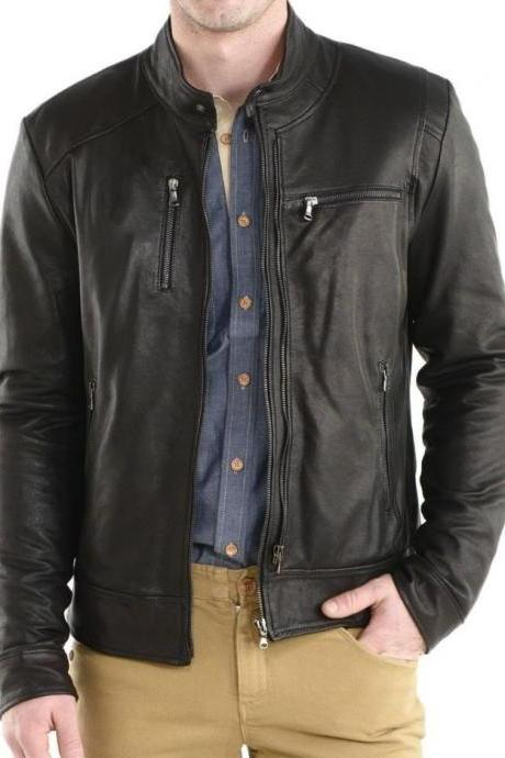 Mens Leather Jacket, Mens biker leather jacket, bomber leather jacket mens