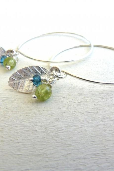 Leaf Charm Earrings in Sterling Silver with Green Peridot and Blue Quartz