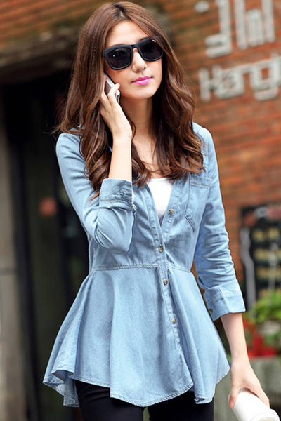 Solid Blue Denim Shirt