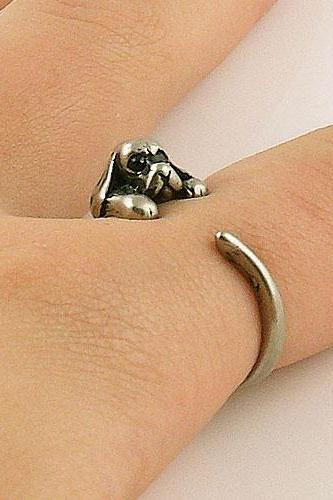 Animal Wrap Ring - Spaniel Dog - Silver