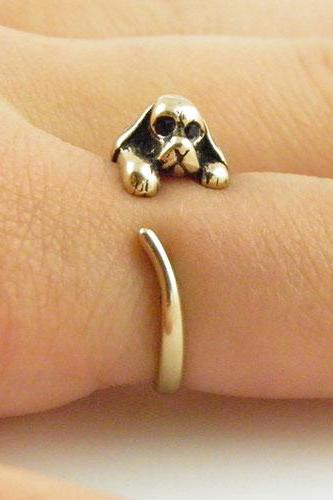 Animal Wrap Ring - Spaniel Dog - Gold