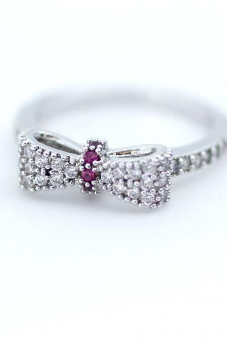 Dainty Ribbon Bow with CZ crystal stacking ring in Silver