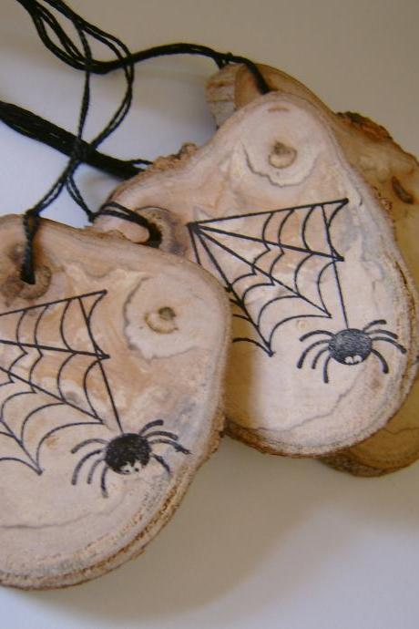 4 Wooden Halloween Hang Tag Ornament Spider Web Favors