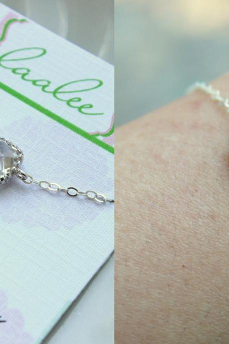 Dainty Silver Crystal Bracelet Bridesmaid Gift Crystal Wedding Jewelry - Clear Bridesmaid Bracelet Silver Jewelry Accessories Gift under 25