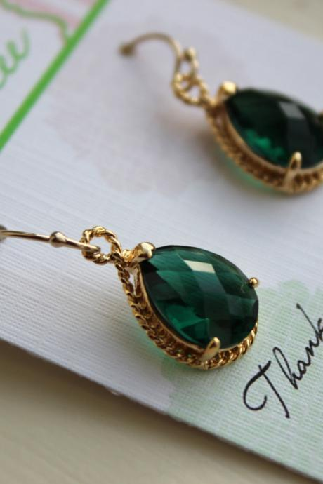 Emerald Green Earrings Gold Wedding Jewelry - Emerald Bridesmaid Earrings Bridesmaid Gift Green Bridal Jewelry Personalized Thank You Note