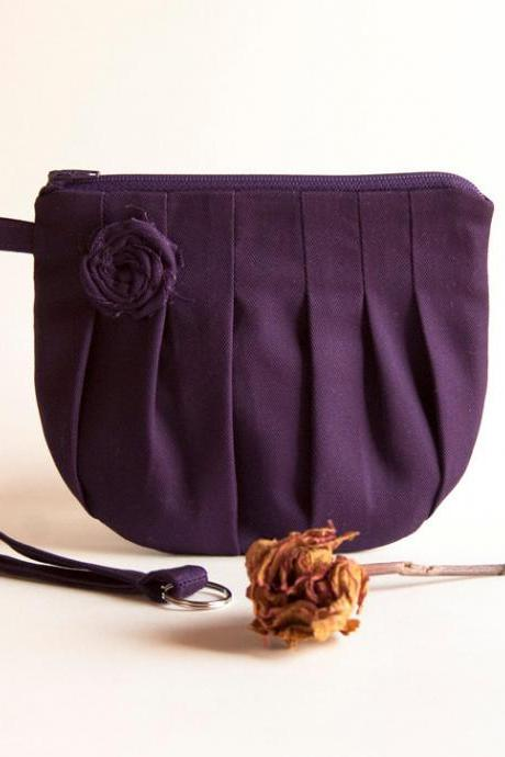 Purple Bridal Clutch or Bridesmaid Clutch, Pouch, Wristlet, Purse - Romantic Rosebud pleats by Lolos
