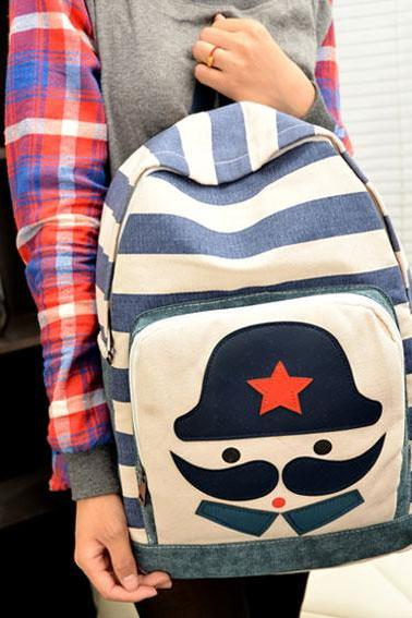 Moustache Printed Canvas Backpack