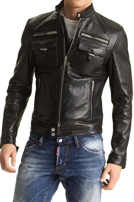 MEN'S BIKER LEATHER JACKET, SLIM FIT LEATHER JACKET MENS
