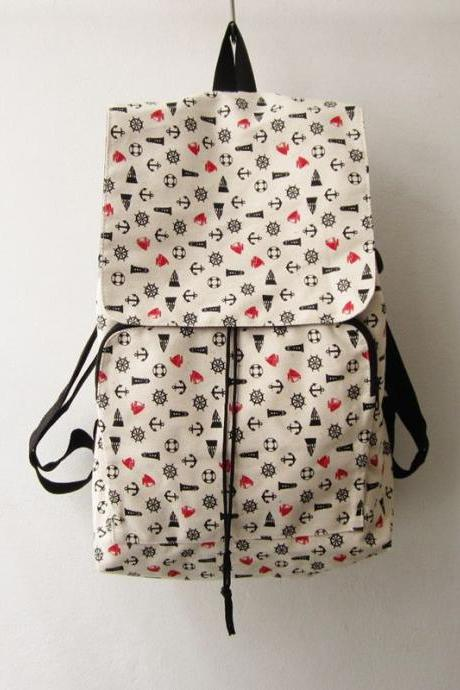 anchor backpack, nautical shoulder rucksack ,canvas backpack, beach bag, leisure bag,summer bag