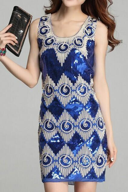 Embroidery stitching sequins dress AX072404AX