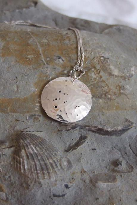 Silver Andromeda pendant: The constellation of Andromeda on a textured sterling silver pendant