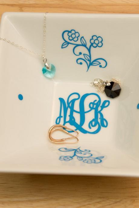 Monogrammed Jewelry Plate with Circle Block Monogram and Flowers - Accessories Storage Dish with Color Monogram Decal, Wedding gift