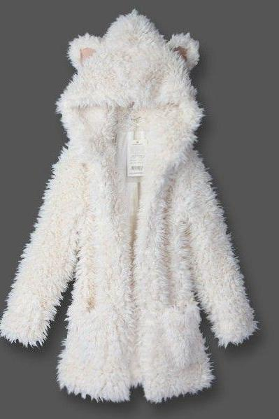 New winter Cute teddy bear ear hooded furry coat