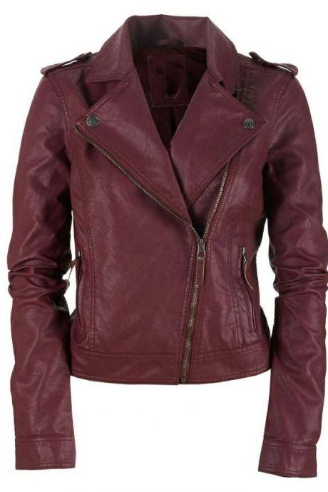 WOMEN'S LEATHER JACKET, BIKER LEATHER JACKET, MAROON COLOR LEATHER JACKET WOMENS