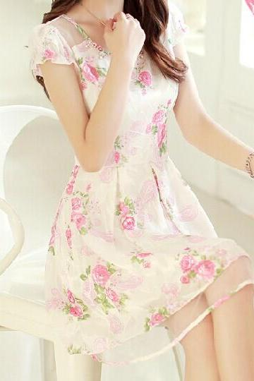 chiffon organza flower dress WQ724DE