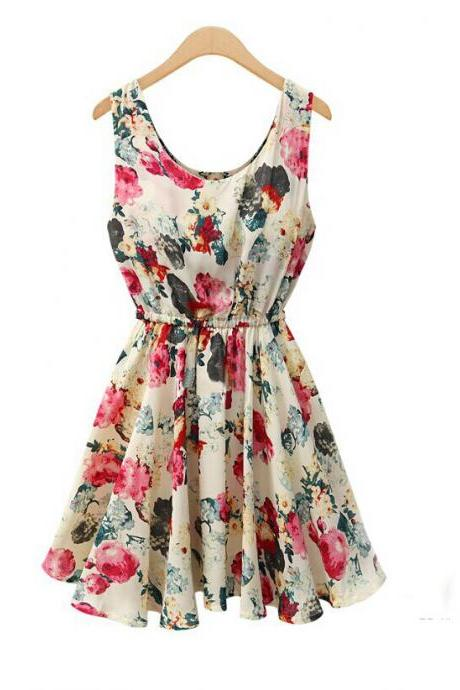 Women's Sexy Apricot O-Neck Floral Above Knee Sleeveless Pleated Dress