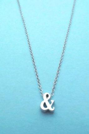 Ampersand Sign Necklace, Gold or Silver Color, Cute, Dainty, Gift Jewelry