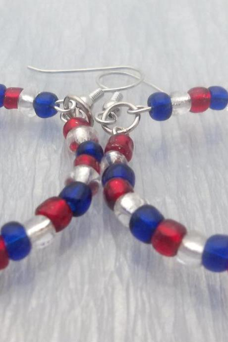 Red, White, and Blue Patriotic Hoop Earrings