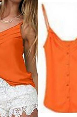 Chic & Beautiful Orange Chiffon Spaghetti Strap Tank Top (S-XXXL)