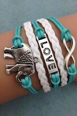 Free shipping NEW Infinity Love Elephants Leather Charm Bracelet plated Silver DIY
