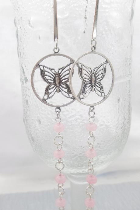 FUN Pink and Butterflies long dangle earrings