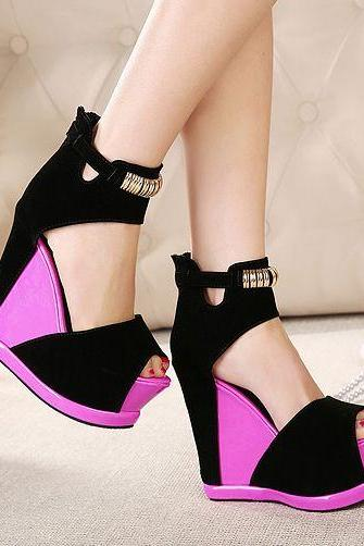 Color block Wedge Heels Fashion Sandals