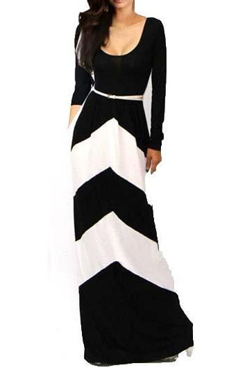 Classic Color Block Long Sleeve High Waist Dress - Black&White