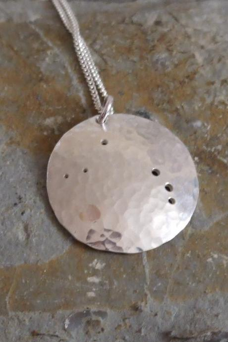 Silver Aries pendant: The constellation of Aries on a textured sterling silver pendant
