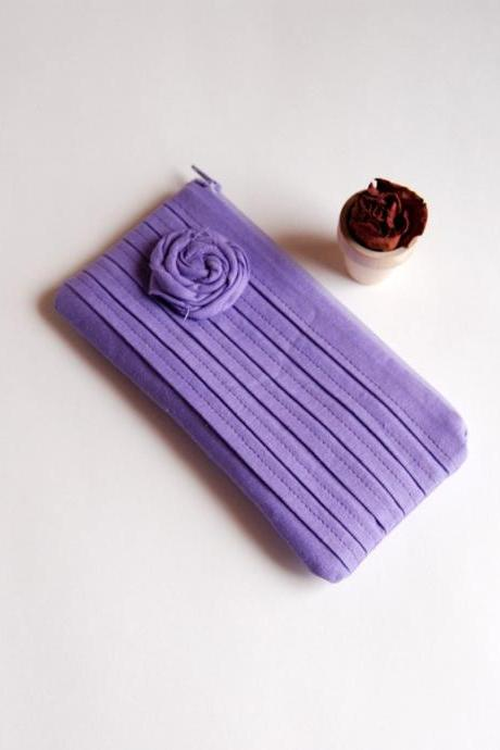 Romantic Rose pleats in purple lilac zippered pouch, purse, clutch by Lolos