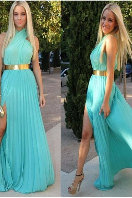 Sexy Teal Blue Sleeveless Halter Neck Chiffon Split Dress - available in S, M, L