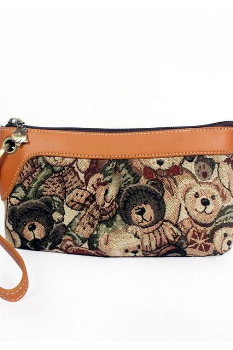 Bear Printed Canvas Clutch Bag
