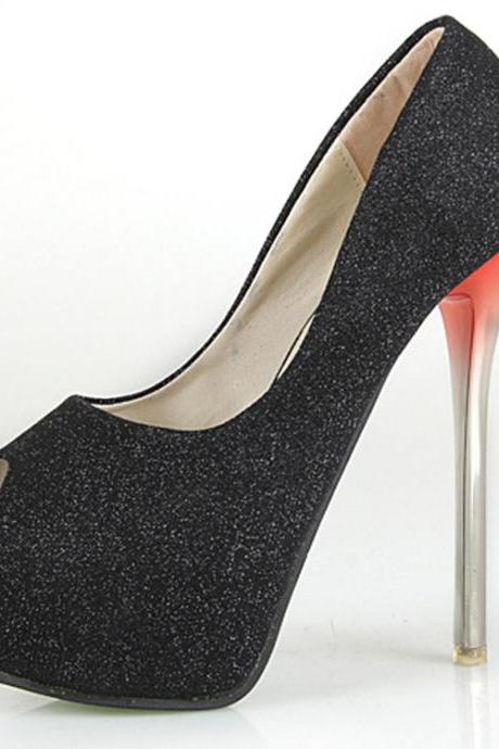 14cm black high-heeled shoes SC728DA