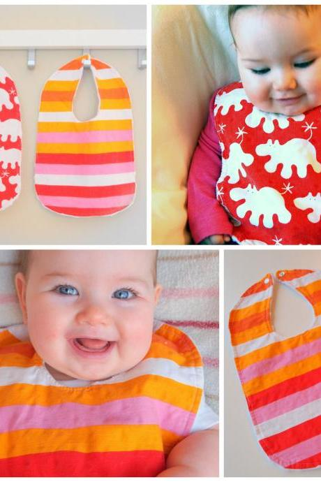 baby bib set of two minky bibs set