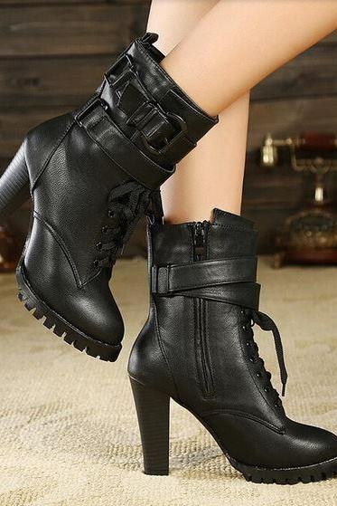 Stylish Thick High Heeled Black Ankle Boots