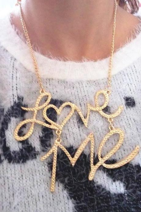 Fashion Gold Metal Necklace LOVE ME
